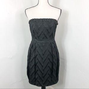 Alice + Olivia Black Strapless Textured Mini Dress